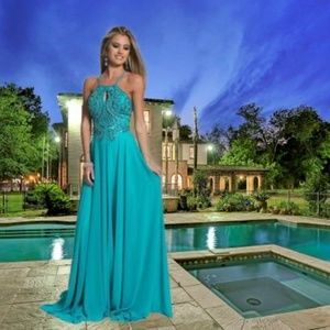 Dave & Johnny Beaded Bodice w/Cutout Evening Gown